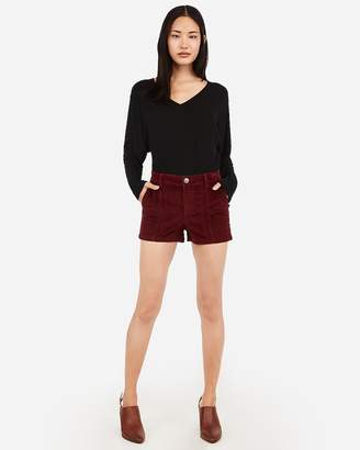 Express High Waisted Seamed Front Corduroy Shorts
