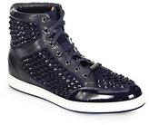 Jimmy Choo Tokyo Studded Suede High-Top Sneakers