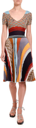 Missoni Ribbed Patchwork Short-Sleeve Top