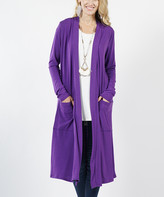 Lydiane Women's Open Cardigans PURPLE - Purple Long-Sleeve Mid-Length Slouchy Pocket Open Cardigan - Women
