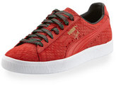 Puma Men's Clyde GCC Snakeskin-Embossed Leather Low-Top Sneaker, Red