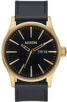 Nixon Sentry Black Date Dial Gold Tone Case Black Leather Strap Mens Watch