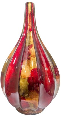 HomeRoots Kya Red Copper and Gold Foil and Lacquer Teardrop Vase