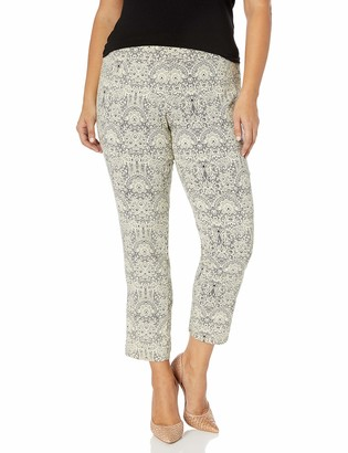 Slim Sation SLIM-SATION Women's Plus Size Pull-On Print Ankle Pant Black with White(Lace 24W