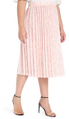 ELOQUII Snake Print Pleated Matte Jersey Skirt