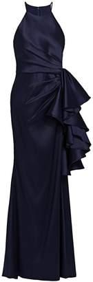 Badgley Mischka Halter Ruffle Knot Dress