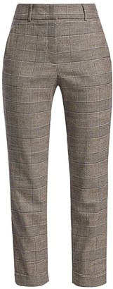 Peserico Slate Glen Plaid Stretch-Wool Pants