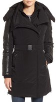 Women's Lamarque Asymmetrical Hooded Down Coat With Genuine Leather Trim