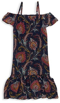 Imoga Little Girl's Girl's Cold-Shoulder Paisley Dress