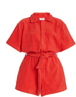 Terry Il Pareo Dyed Cotton-Terry Playsuit