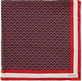 Gucci Men's Geometric-Print Silk Pocket Square