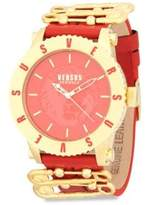 Versace Stainless Steel and Leather Strap Watch