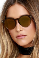 LuLu*s Pay Day Black and Blue Mirrored Sunglasses