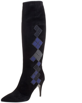 Loriblu Black Abstract Embellished Suede Knee High Boots Size 41