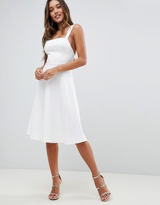 Asos Design DESIGN square neck midi prom dress-White