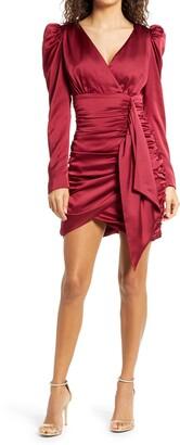 Lavish Alice Long Sleeve Satin Faux Wrap Minidress