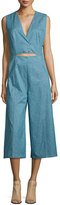 Derek Lam 10 Crosby Saddle-Stud Linen-Blend Denim Jumpsuit