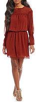 M.S.S.P. Smocked Waist Textured Crepe Dress