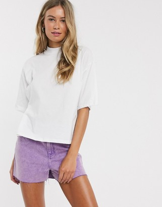 ASOS DESIGN boxy crop t-shirt with high neck in white