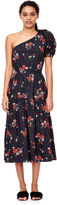 Rebecca Taylor One-Shoulder Marguerite Floral Poplin Dress