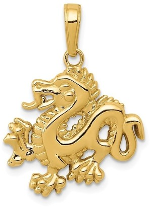 Curata 14k Yellow Gold Open back Solid Polished Dragon Pendant Necklace Measures 22.9x18.7mm Jewelry Gifts for Women