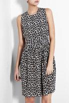 Blue Leopard Print Silk Dress