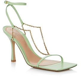 Bottega Veneta Women's Square Toe Chain Strap High Heel Sandals