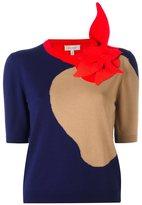 DELPOZO floral embellished shortsleeved blouse