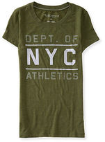 Aeropostale Womens Nyc Athletics Felt Graphic T Shirt Green