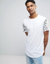 ONLY & SONS Longline T-shirt with Curved Hem and Raglan Printed Sleeve