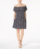 Jessica Howard Jesica Howard Printed Ruffled Off-The-Shoulder Dress