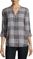 Soft Joie Dane Long-Sleeve Plaid Top, Soft Gray/Caviar