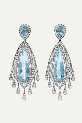 Fred Leighton Collection 18-karat White Gold, Aquamarine And Diamond Earrings