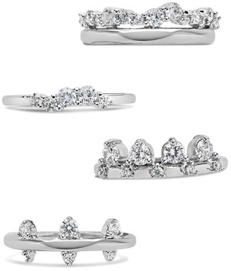 Sterling Forever Rhodium Plated CZ Faye Rings - Set of 4