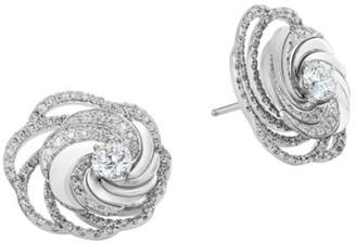 De Beers Aria 18K White Gold & Diamond Floral Stud Earrings