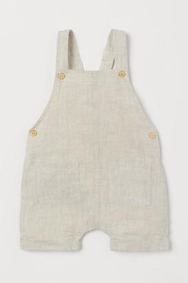 H&M Linen dungaree shorts