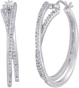 JCPenney FINE JEWELRY 1/3 CT. T.W. Diamond Sterling Silver Crossover Hoop Earrings
