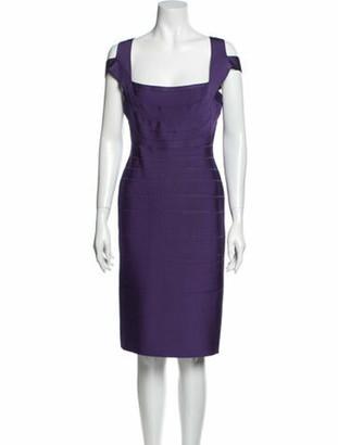 Herve Leger Square Neckline Knee-Length Dress Purple