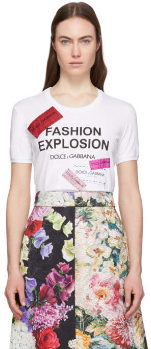 Dolce & Gabbana White Fashion Explosion T-Shirt