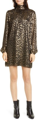 Saint Laurent Lame Leopard Burnout Long Sleeve Silk Blend Shift Dress