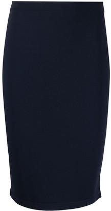 D-Exterior High-Waisted Stretch Pencil Skirt