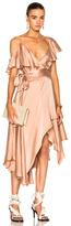 Zimmermann Sueded Asymmetric Wrap Dress in Neutrals,Pink.