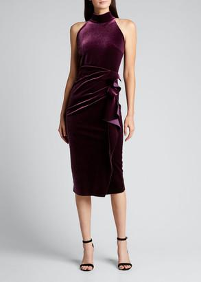 Chiara Boni Velvet Ruffle-Front Halter Dress
