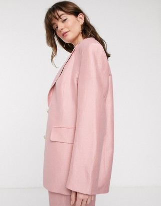And other stories & linen oversized blazer in light pink