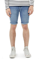 Topman Distressed Stretch Skinny Fit Denim Shorts