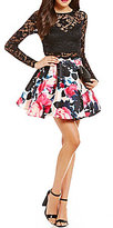 B. Darlin Long Sleeve Lace Top To Floral Skirt Two-Piece Dress