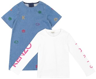 Kenzo Kids Cotton-blend dress and top set
