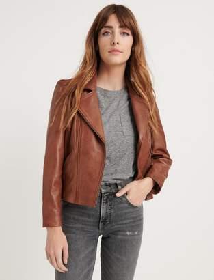 Lucky Brand Puff Sleeve Leather Moto Jacket