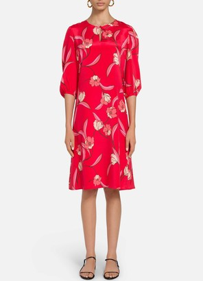 St. John Spring Floral Print Poet Sleeve Dress