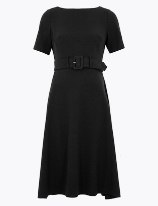 Marks and Spencer PETITE Belted Midi Skater Dress